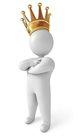 Man with a crown on his head, White background, 3d render Stock Photo