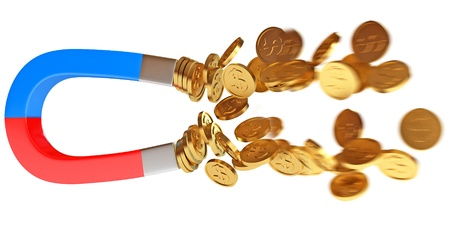 Money magnet with dollar coins, Conceptual illustration Stock Illustration - 17041391