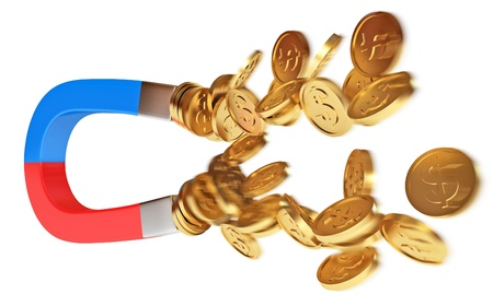 Magnet and golden coins, conceptual illustration, 3d render illustration