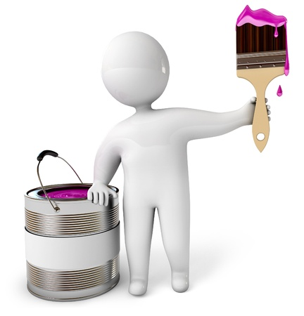 People with a brush and a bucket with a paint, 3d render Stock Photo - 17040648