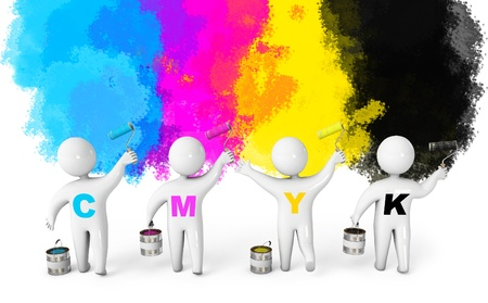 cmyk abstract: Paint roller and a bucket, CMYK concept, 3d render