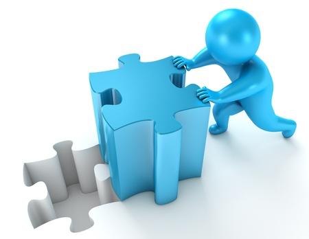 Men pushing puzzle piece, 3d render Stock Photo - 17040625