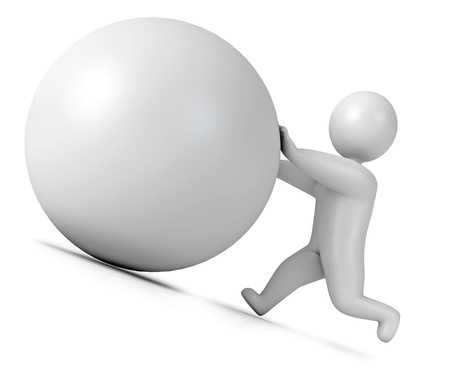 sisyphus: Man pushing a boulder as Sisyphus, Isolated, 3d render