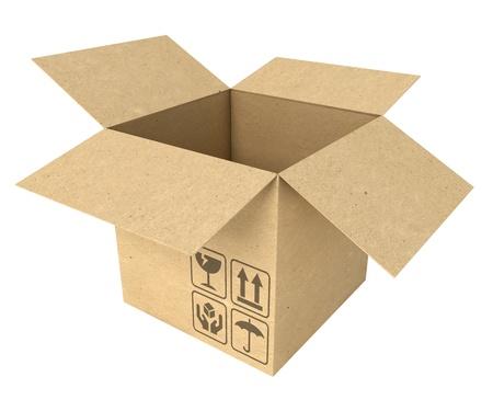 Empty opened cardboard box, Isolated on white background Stock Photo - 17040609
