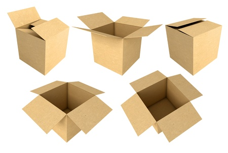 Cardboard boxes isolated on white background, 3d render Stock Photo - 17040614