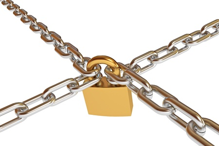 Crossed chains with lock, conceptual illustration, 3d render Stock Illustration - 17041394