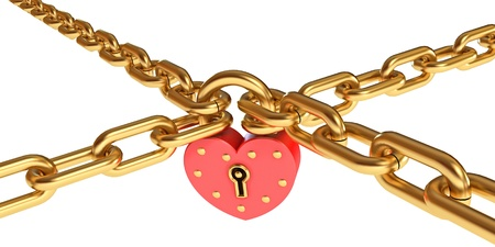lock and chain: Padlock in a heart-shaped, Gold chain, Conceptual illustration Stock Photo