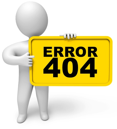 fault: Concept 404 error on white background, Page not found