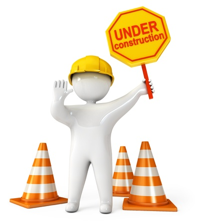 road work: Human at a stop pose, Traffic cones, Under construction sign