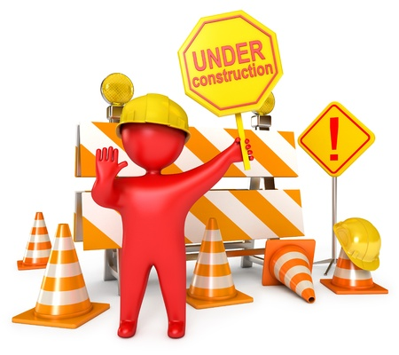 Red Human at a stop pose, Traffic cones, Under construction sign Stock Photo - 17049625