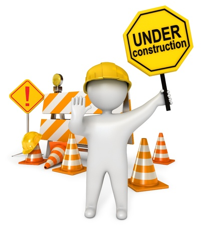 under construction sign with man: White people holding a stop sign, Under construction barrier