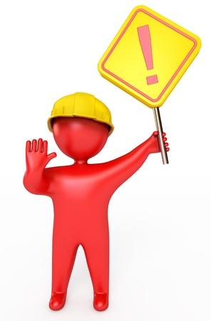 accidente trabajo: Gente rojas en un casco de la celebración de una señal de stop, 3d