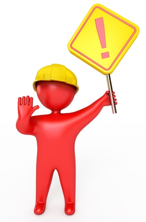 men at work sign: Red people in a helmet holding a stop sign, 3d render Stock Photo