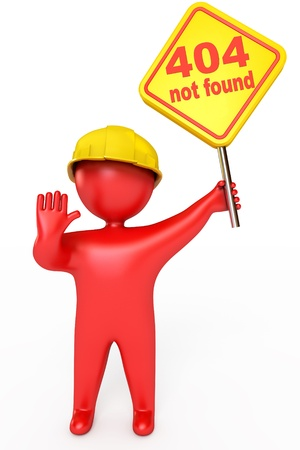 ooops: Red puppet man in a helmet holding a plate, Error 404 not found Stock Photo