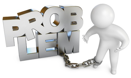 Man chained to a problem, White background, 3d render Stock Photo - 17049603
