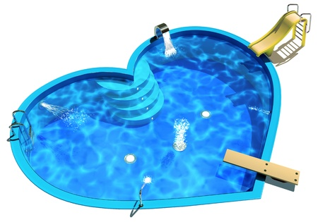 Pool in the form of a heart, 3D Illustration of a Swimming Pool Stock Illustration - 17040616