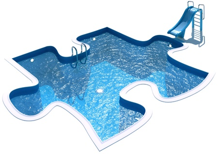 poolside: Pool in the form of a puzzle, 3d render