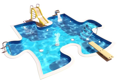 pool symbol: Pool in the form of a puzzle, 3D Illustration of a Swimming Pool