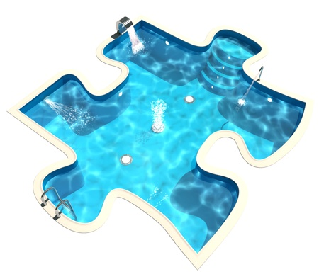 3d swimming pool: Swimming pool in the form of a puzzle, 3d render