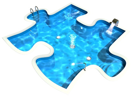 3d swimming pool: Pool in the form of a puzzle, 3D Illustration of a Swimming Pool