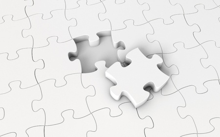 White puzzle, 3d render Stock Photo - 17049620