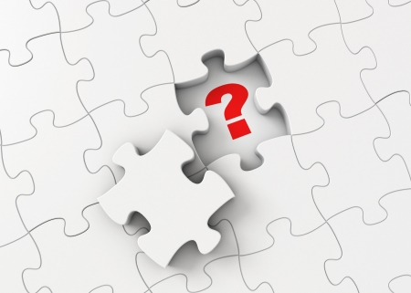 conundrum: Collect puzzles, Find the answer, Right decision, Find a way Stock Photo