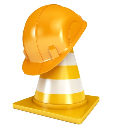 Construction Helmet, Traffic cones, Icon isolated on white Stock Photo - 17041174
