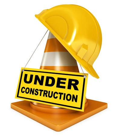 Helmet for builder worker, Traffic cones, Under construction Stock Photo - 17040632