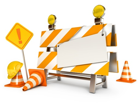 web page under construction: Blank sheet, Traffic cones, Road sign, Construction Helmet