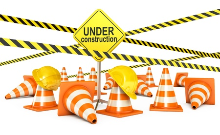 Page under construction, Traffic cones, Road sign, 3d render