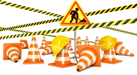 Road Reconstruction, Traffic cones, Road sign, 3d render Stock Photo - 17040603