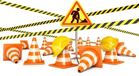 Road Reconstruction, Traffic cones, Road sign, 3d render Stock Photo - 17040603