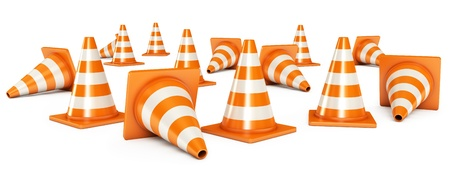 Traffic cones, Isolated on white background, 3d render Stock Photo - 17040630