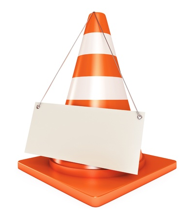 Under construction frame, Traffic cones, Blank sheet, 3d render Stock Photo - 17041393