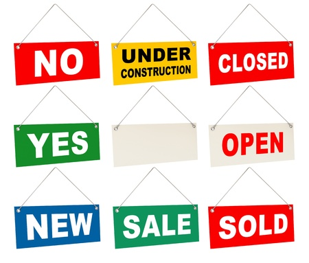 Signs set, Tablet with the inscription  no, yes, closed, open Stock Photo - 17040636