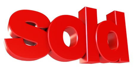 Sold icon, Isolated on white background, 3d render photo