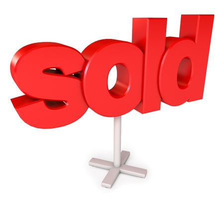 Sold sign, Icon isolated on white background, 3d render Stock Photo - 17049607