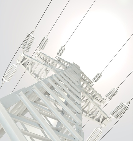 transmission line: Power Transmission Line, 3d render Stock Photo