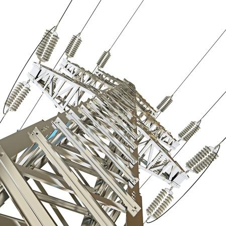 isolator high voltage: Power Transmission Line, 3d render Stock Photo