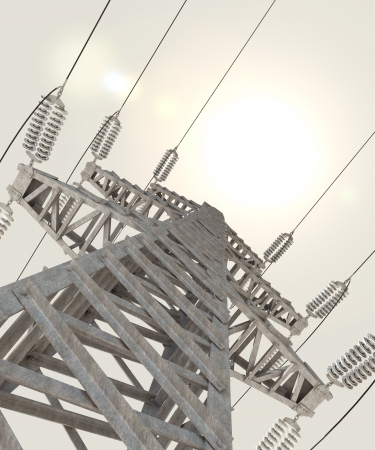 electric utility: Power Transmission Line, 3d render Stock Photo