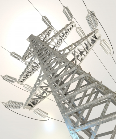 Power Transmission Line, 3d render photo