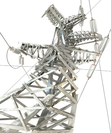 electricity substation: Power Transmission Line, 3d render Stock Photo