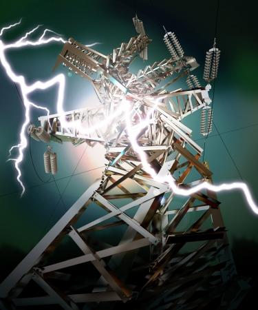 Power Transmission Line, Lightning strike photo