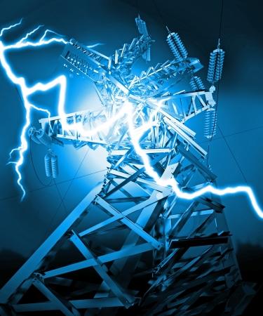 metal grid: Power Transmission Line, Lightning strike, 3d render Stock Photo