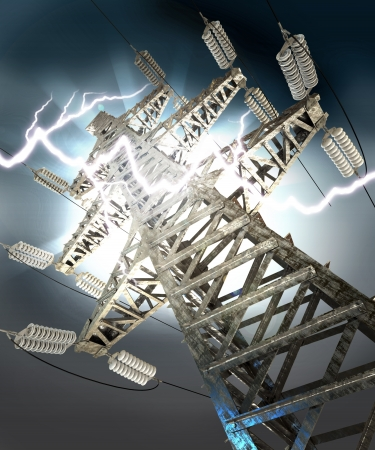 Power Transmission Line, Lightning strike photo