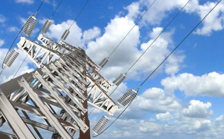 Power Transmission Line, High-voltage tower sky background Stock Photo - 17049623