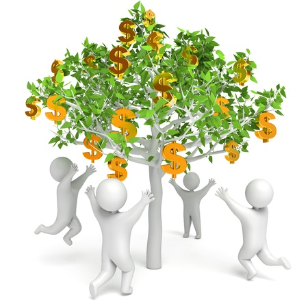 Dollar grows on a tree, Money Tree, 3d render photo