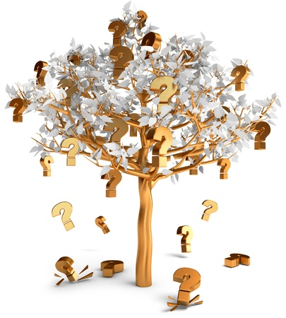 frequently asked questions: Gold questions sign grow on a tree, Frequently asked questions Stock Photo