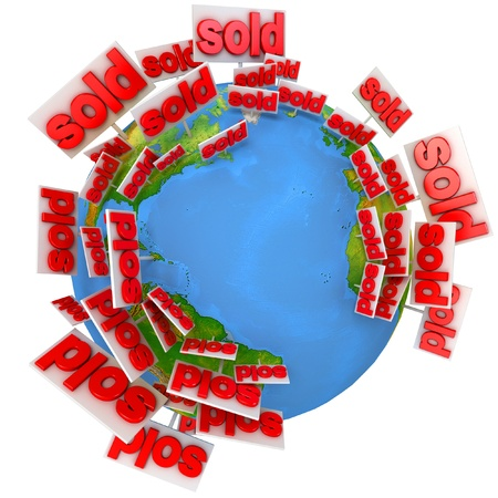 Sale of real estate around the world, Icon, 3d render Stock Photo - 17040626