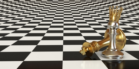 Pawn puts checkmate, Pawn with golden crown Stock Photo - 17040565